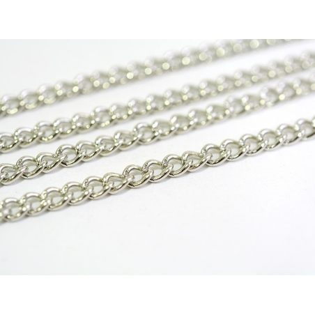 1 m of curb chain - silver-coloured - 3.7 mm
