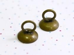 1 pendentif pour cloche en verre - couleur bronze