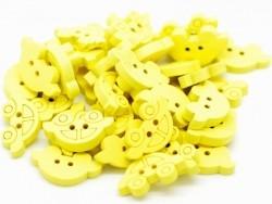 1 Knopf aus bemaltem Holz - gelbes Auto