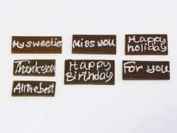 """1 """"Miss you"""" chocolate decoration"""